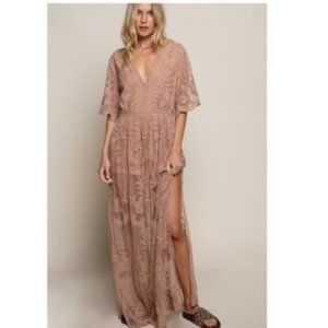Lyla Floral Lace V-Neck Mauve Cotton Maxi Dress